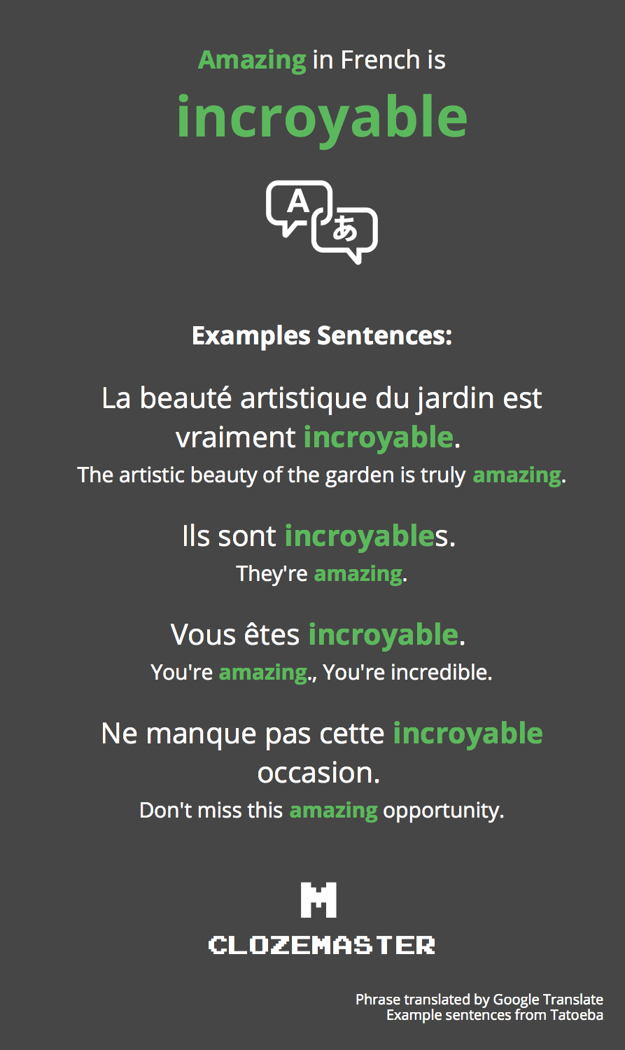 How To Say Amazing In French Clozemaster