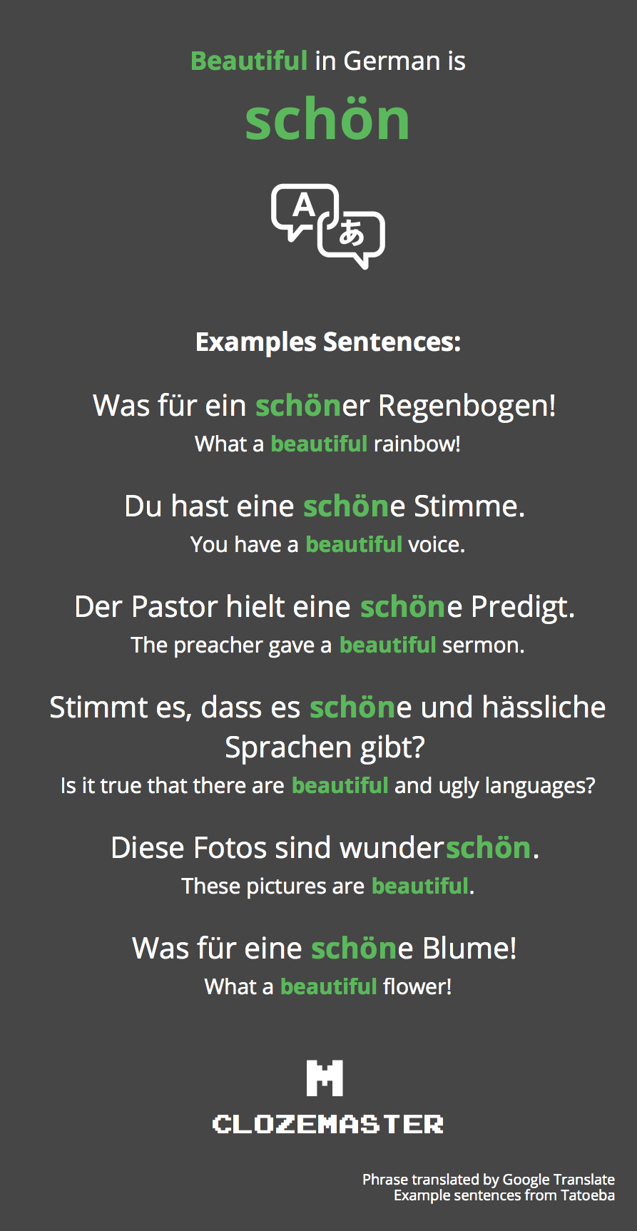 How To Say Beautiful In German Clozemaster