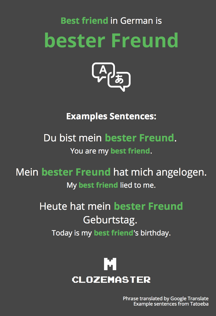 How To Say Best Friend In German Clozemaster