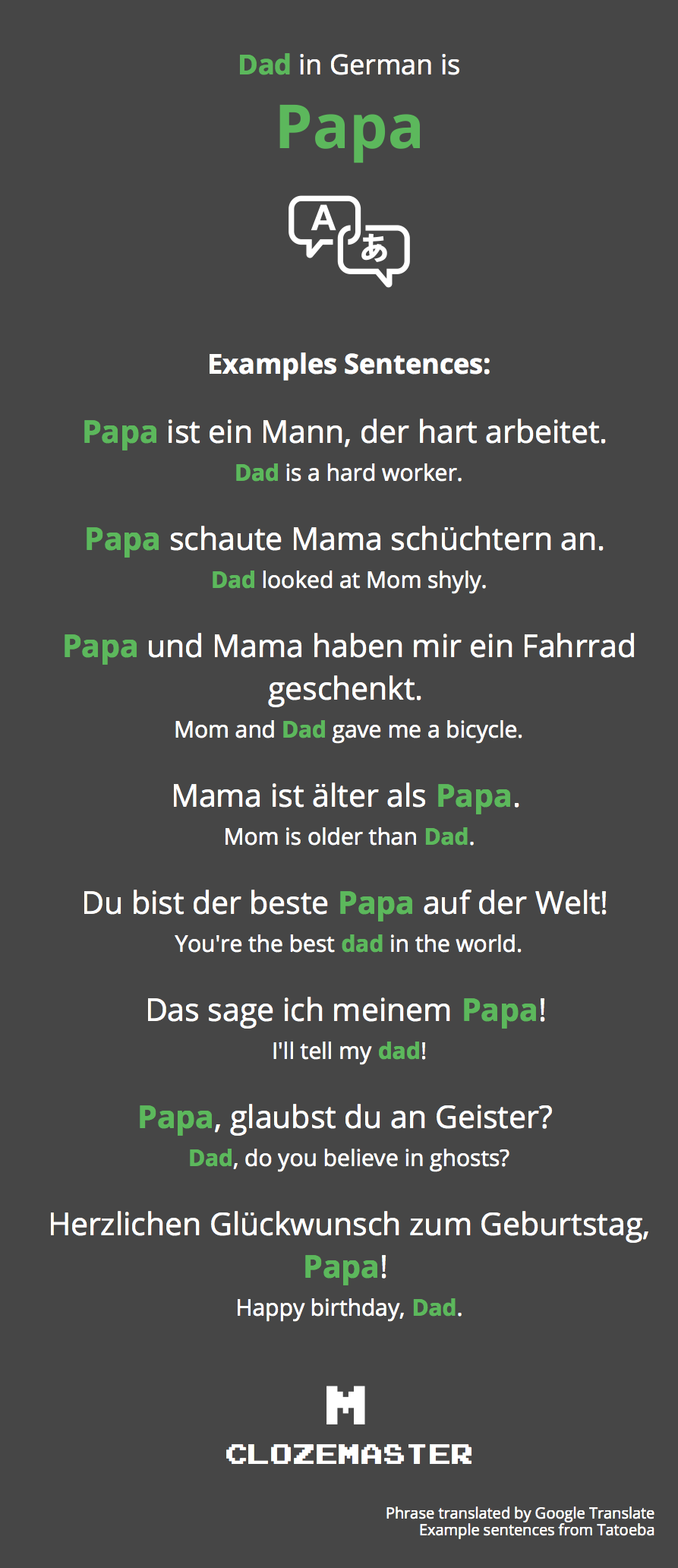How To Say Dad In German Clozemaster
