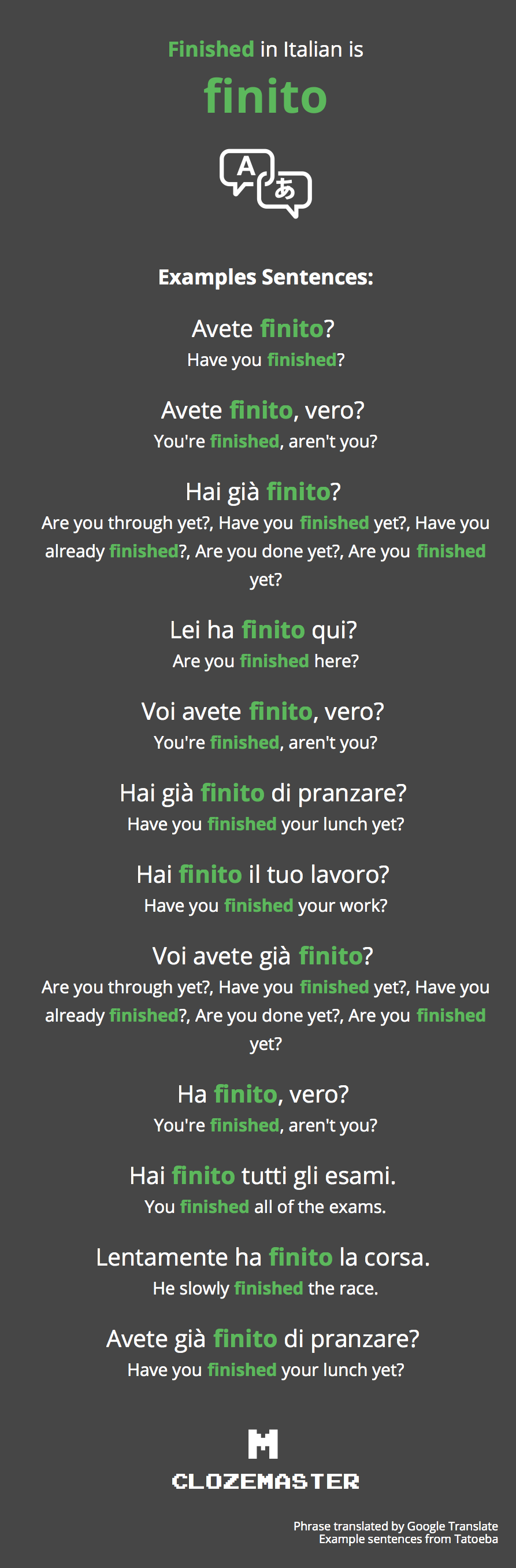 How To Say Finished In Italian Clozemaster