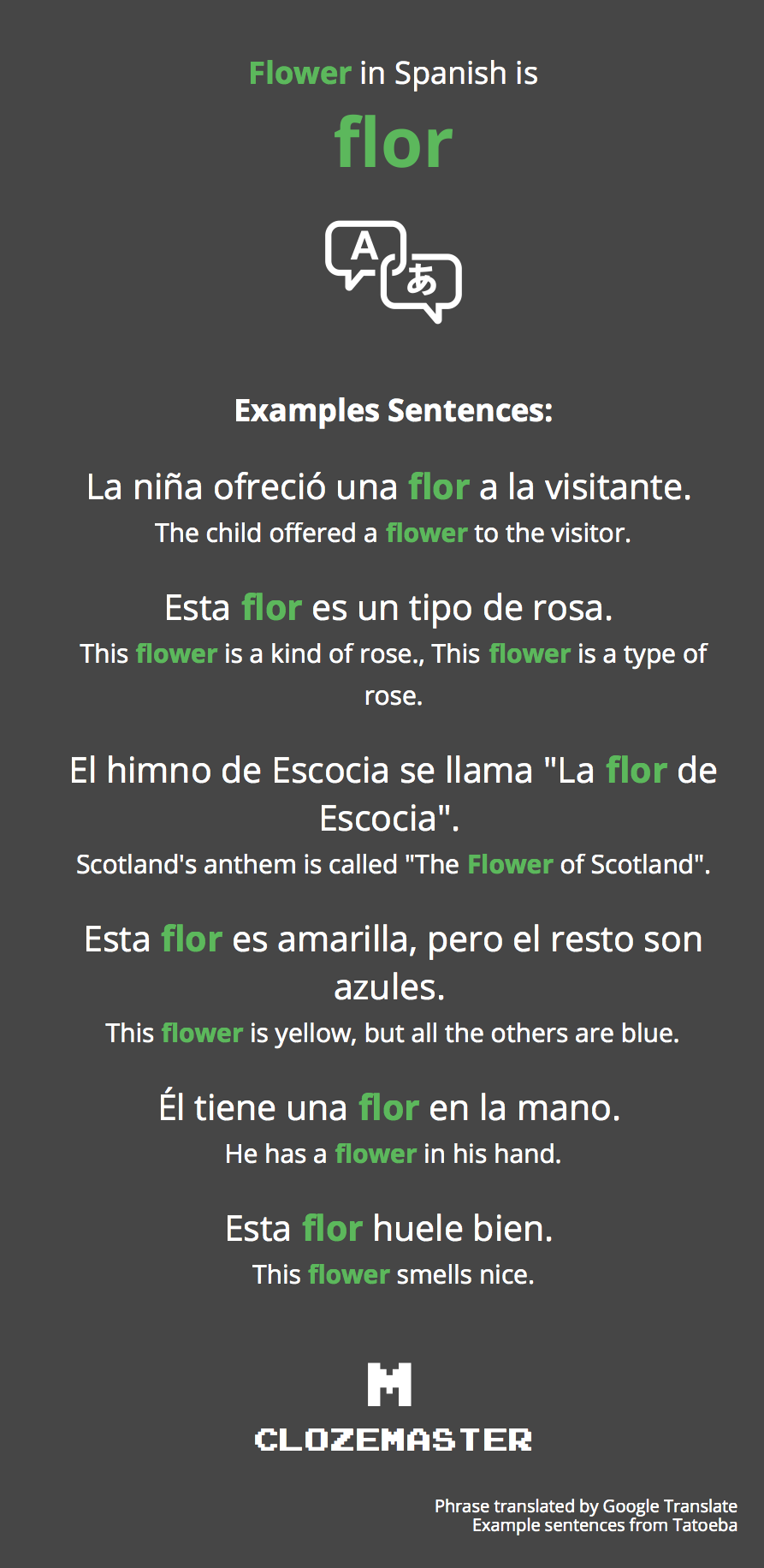 39ee76b1 Flower in Spanish translation and example sentences.