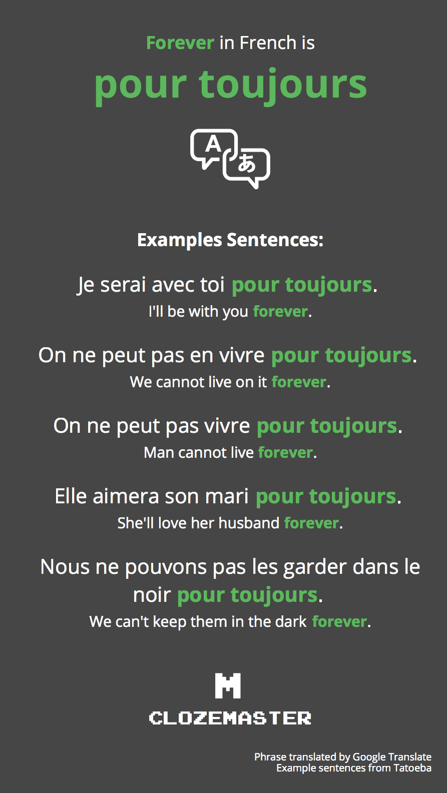 How to say love you forever in french