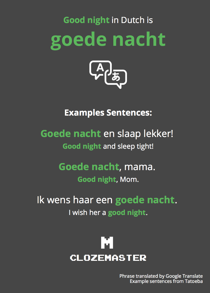 How To Say Good Night In Dutch Clozemaster
