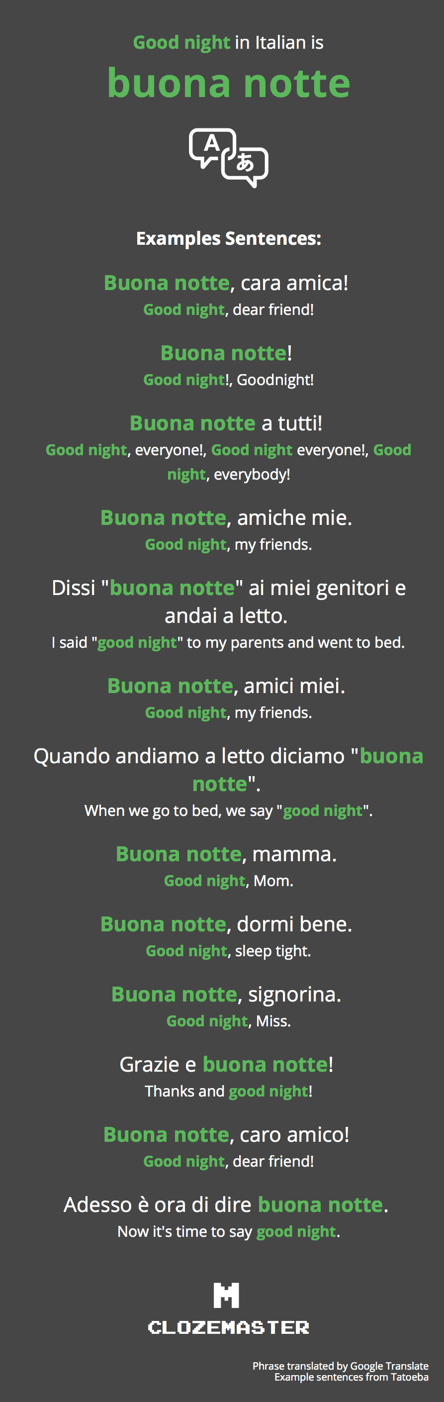 How to Say Good night in Italian - Clozemaster