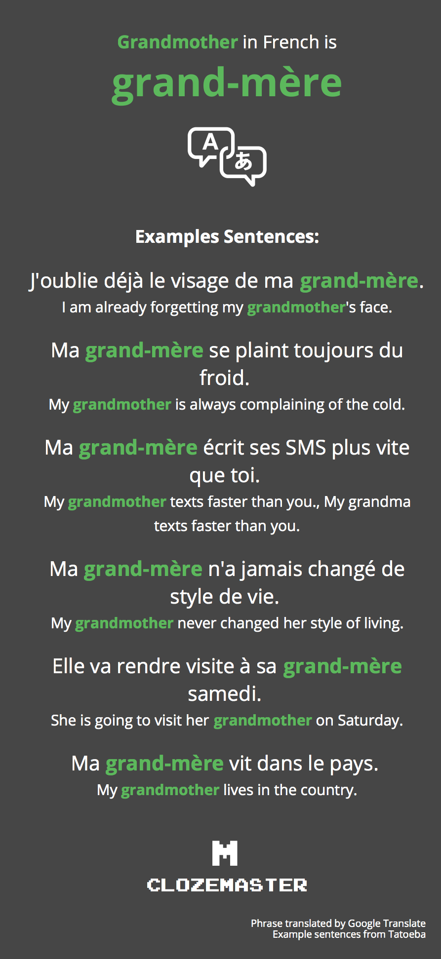 How To Say Grandmother In French Clozemaster