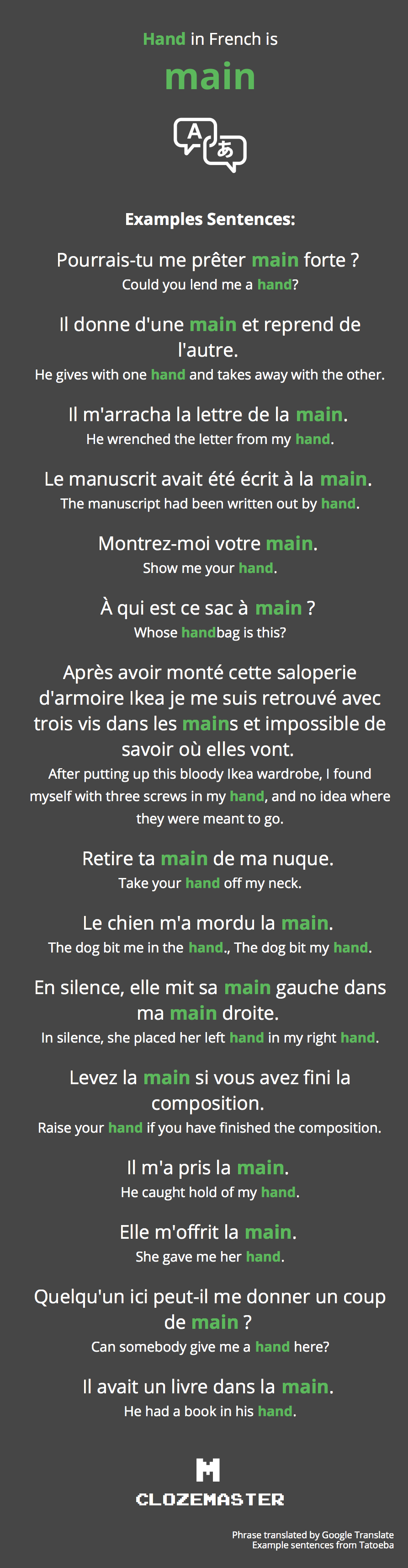 How to say hand in french clozemaster hand in french translation and example sentences solutioingenieria Choice Image
