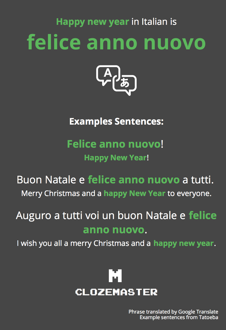 happy new year in italian translation and example sentences