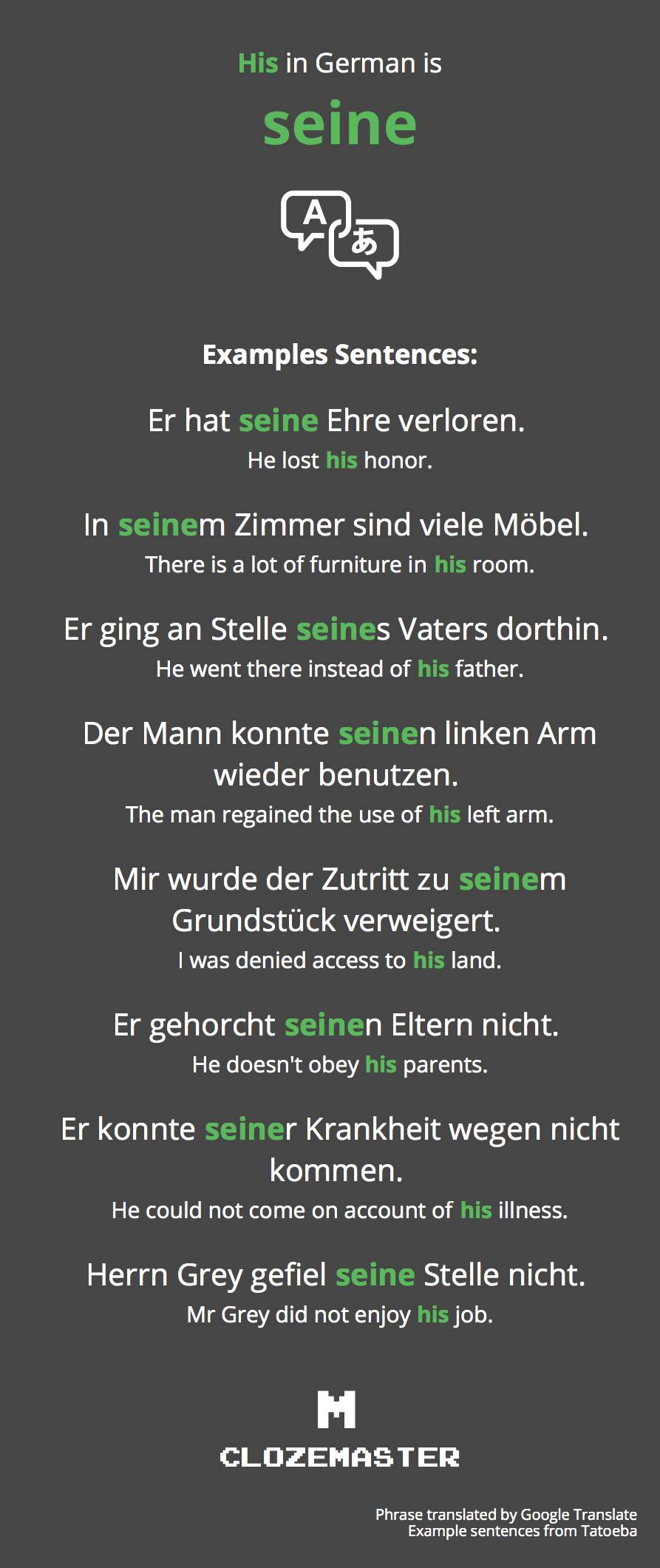 his in german translation and example sentences