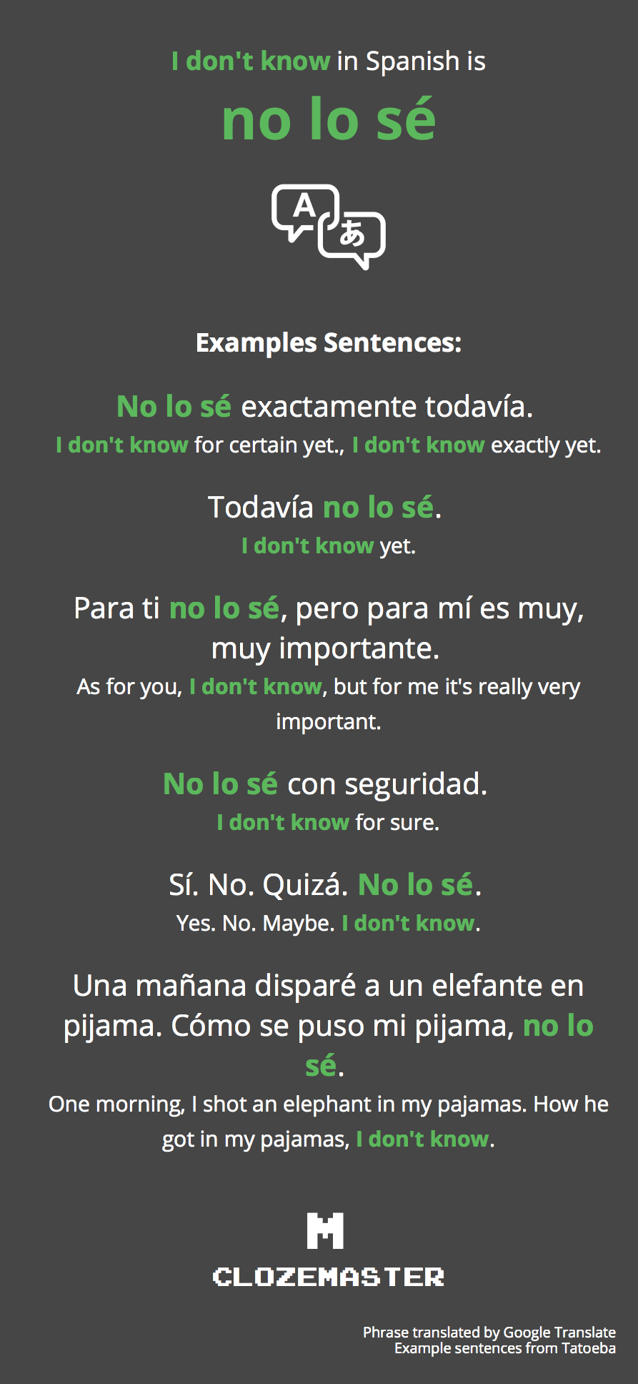 How to say i know you in spanish