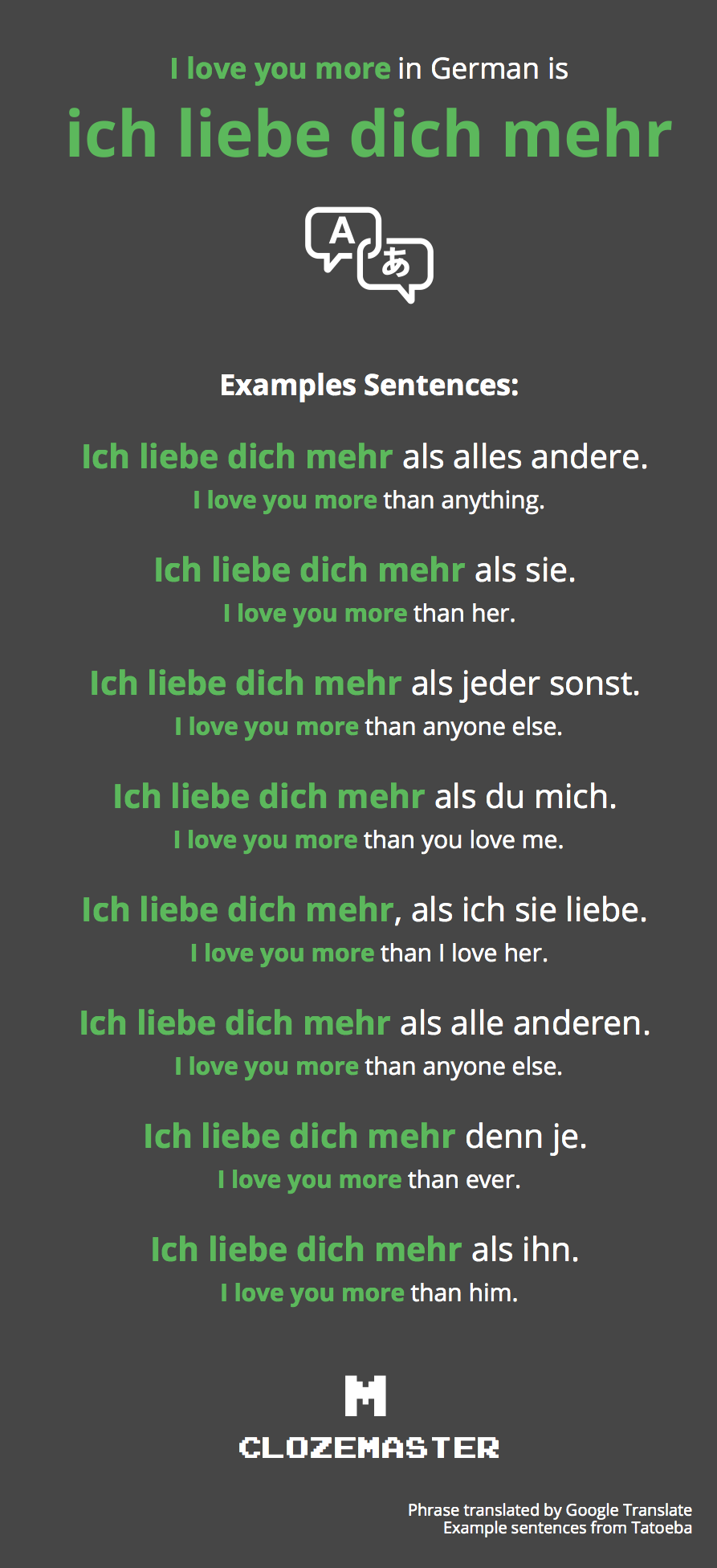 How to Say I love you more in German - Clozemaster