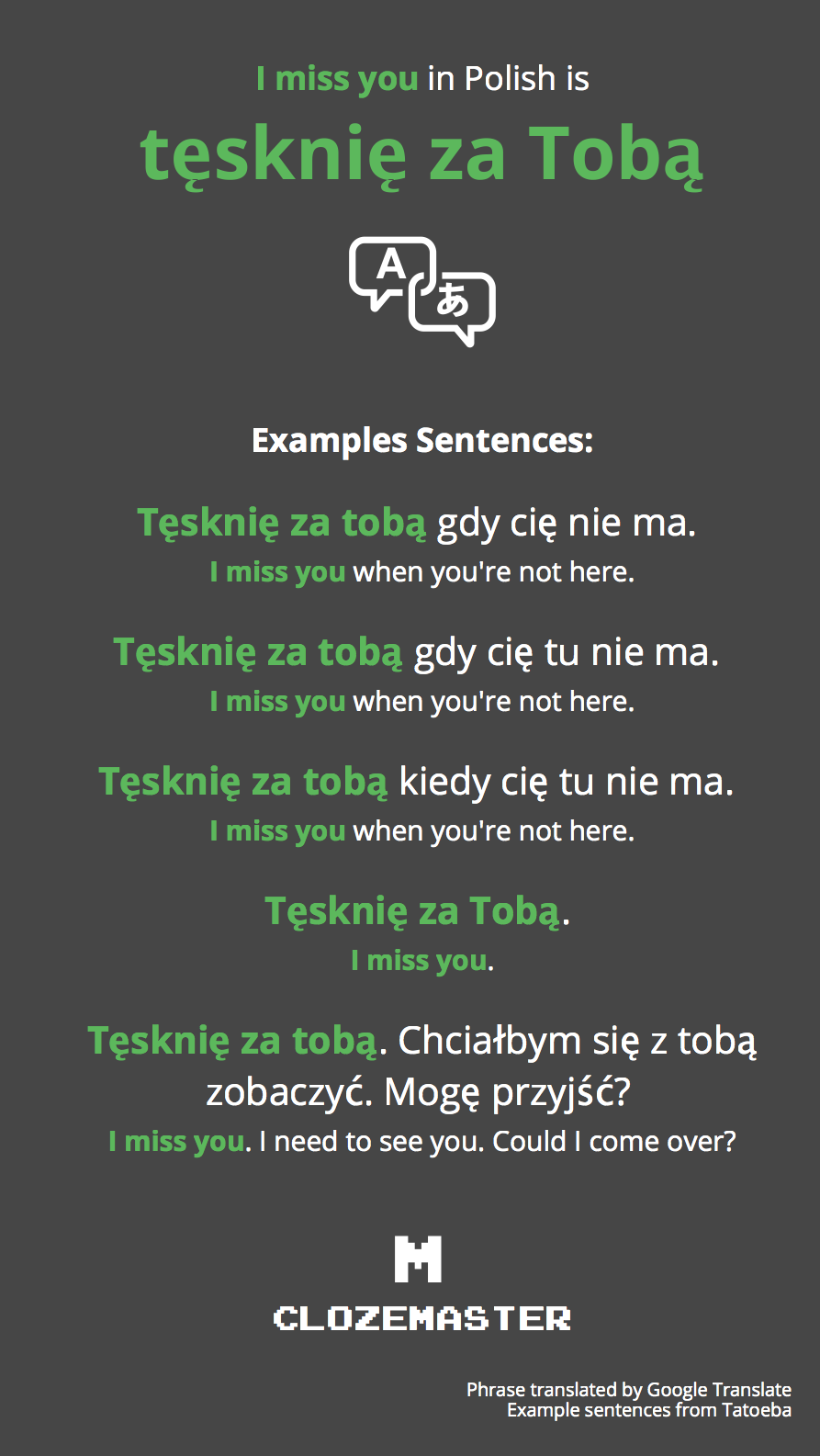 How To Say I Miss You In Polish Clozemaster