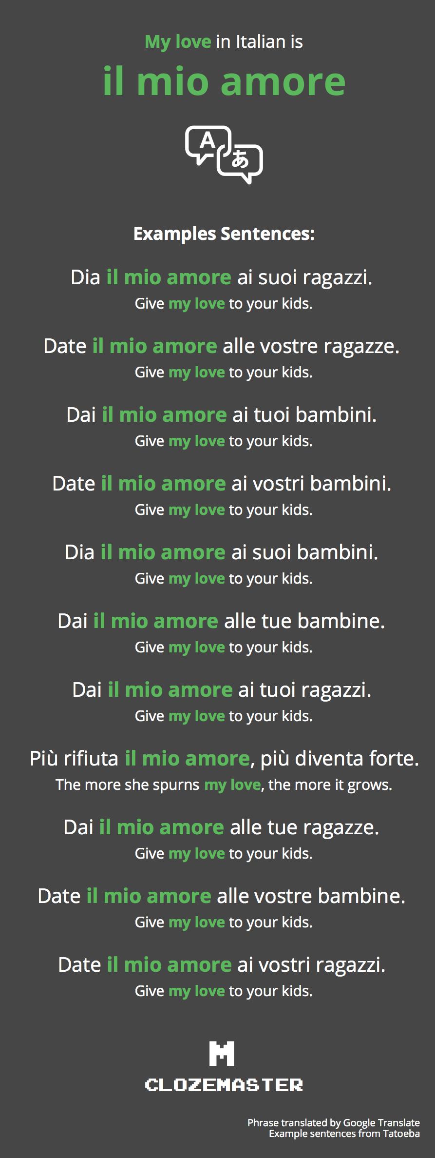 How To Say My Love In Italian Clozemaster