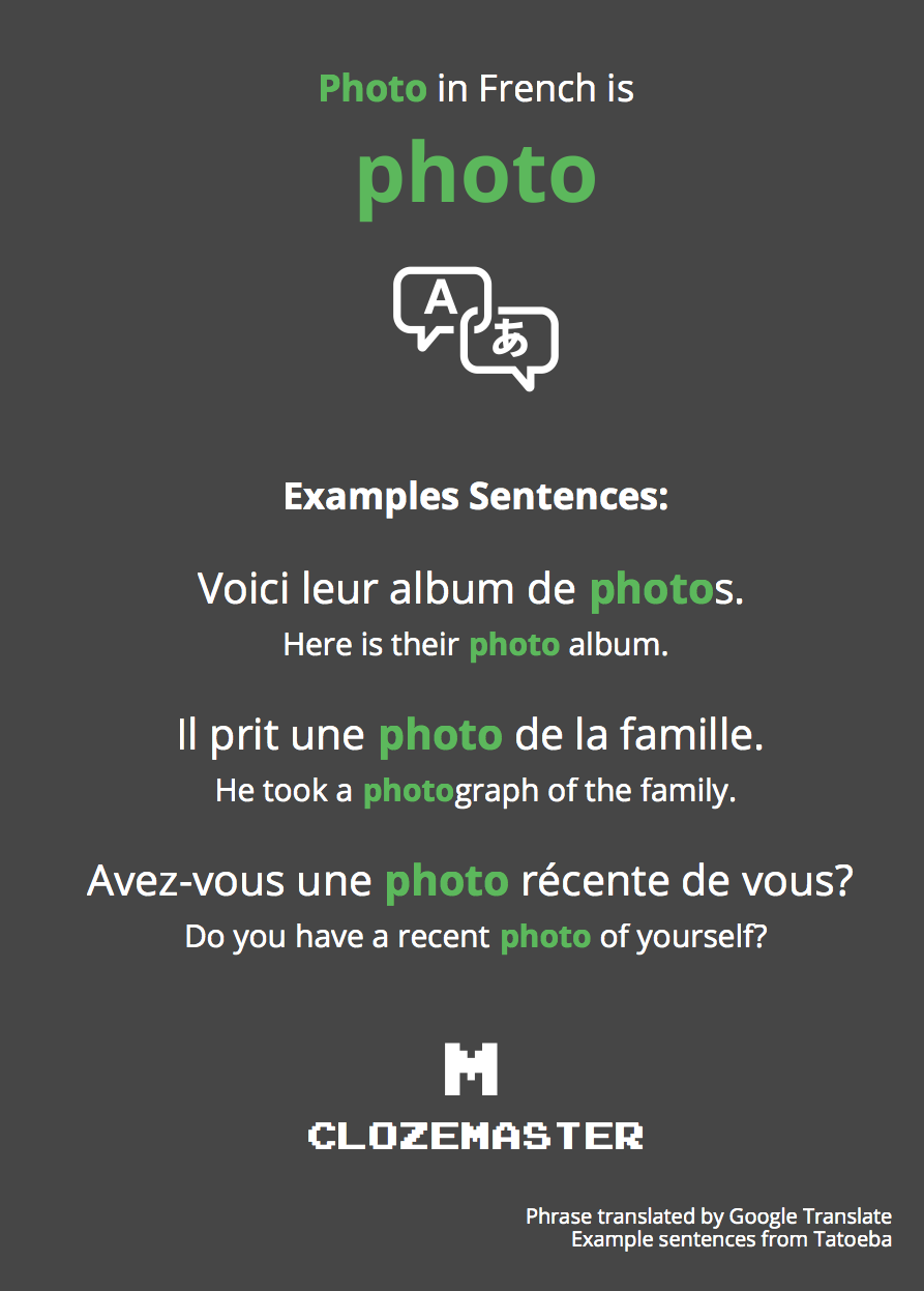 How to say photo in french clozemaster photo in french translation and example sentences solutioingenieria Image collections
