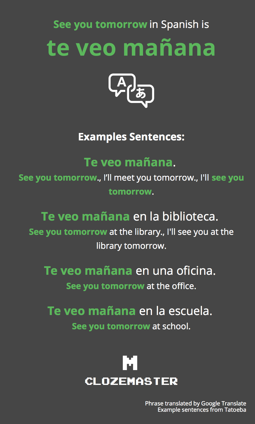 How to Say See you tomorrow in Spanish - Clozemaster