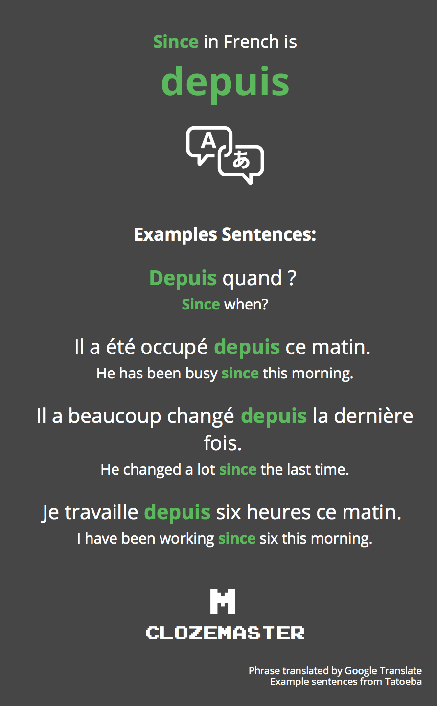How To Say Since In French Clozemaster