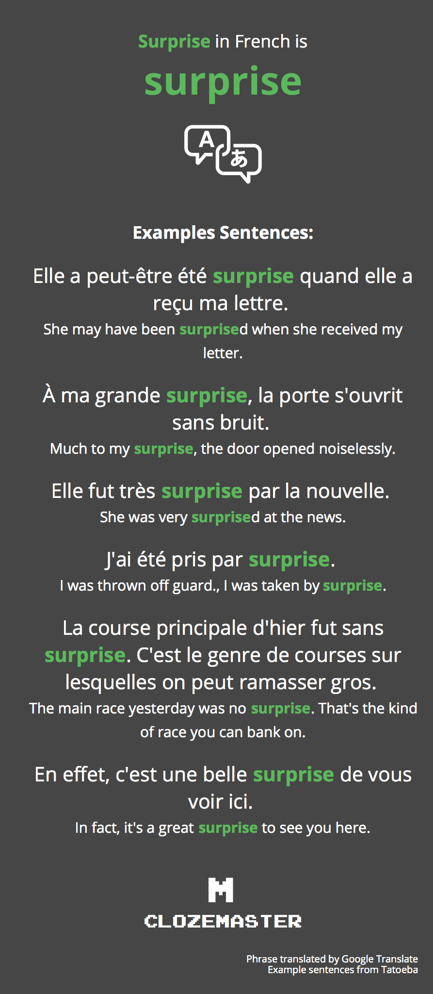 How to say surprise in french clozemaster surprise in french translation and example sentences spiritdancerdesigns Images