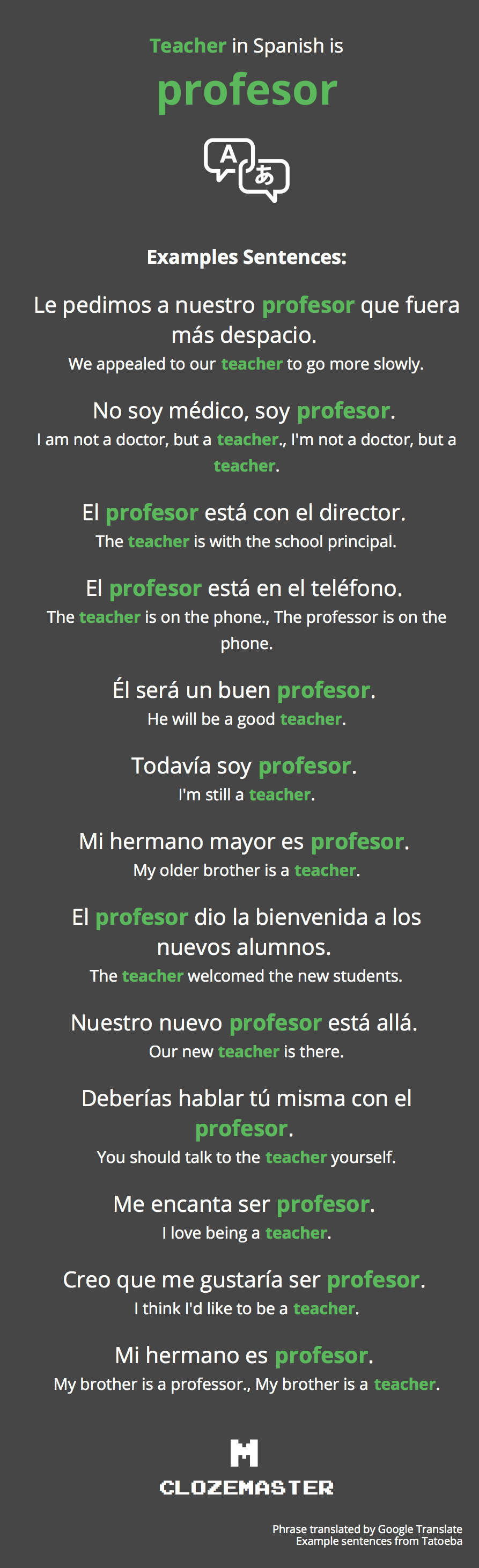 How to Say Teacher in Spanish - Clozemaster