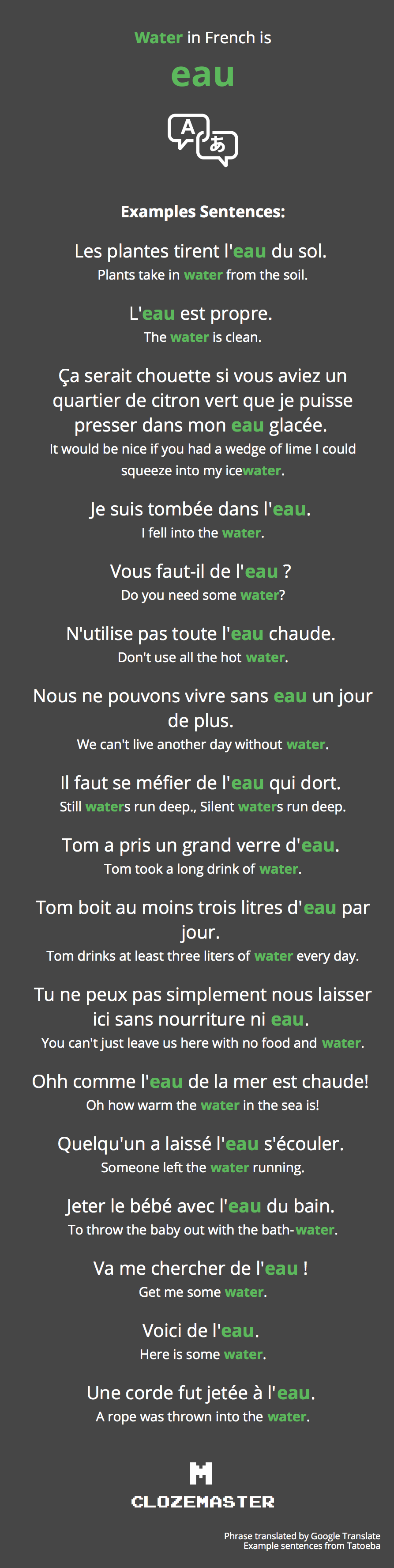 How to Say Water in French - Clozemaster