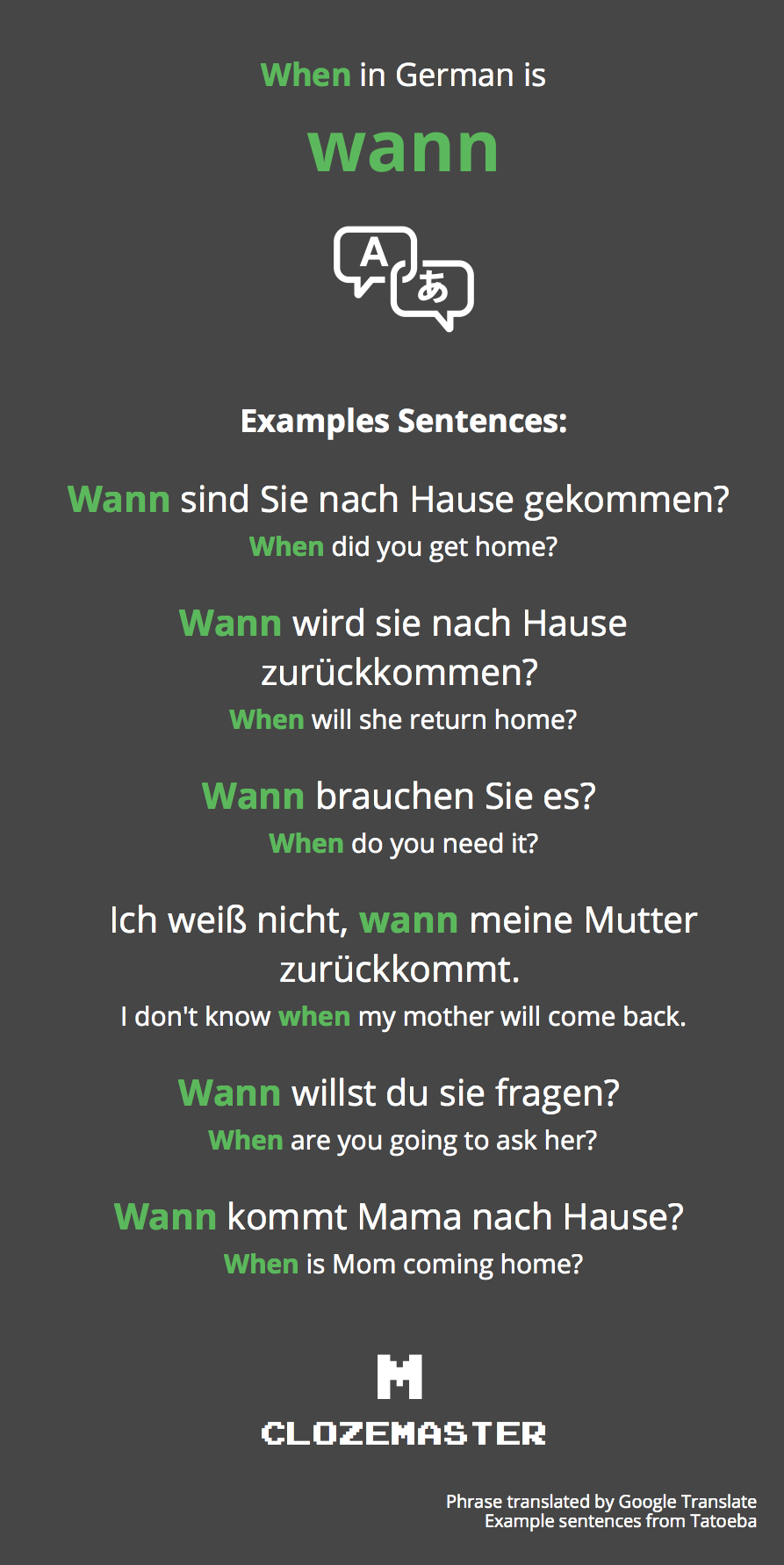 How To Say When In German Clozemaster