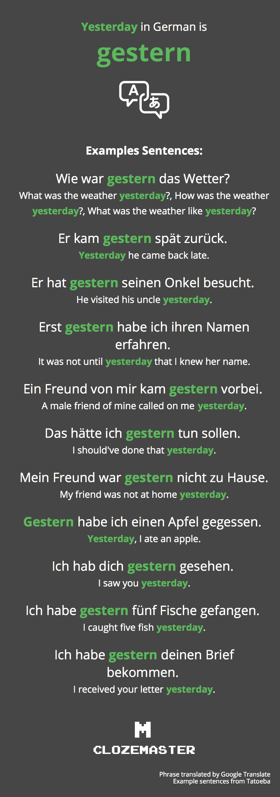 Yesterday In German